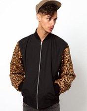 Vintage Varsity Jacket with Leopard Print Sleeves
