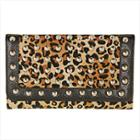 LANY Womens Leapord Print Studded Tri-fold Wallet