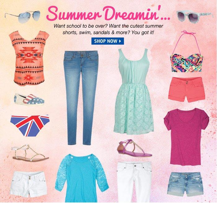 Summer Dreamin...Want the  cutest summer shorts, swim, sandals & more? You got  it!