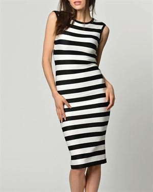 Cocogio Striped Sheath Dress Made In Italy