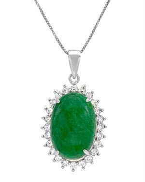 Ladies Emerald Necklace Designed In 925 Sterling Silver