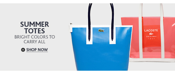 SUMMER TOTES. BRIGHT COLORS TO  CARRY ALL. SHOP NOW