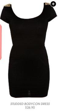 Shop Studded Shoulder Bodycon Dress