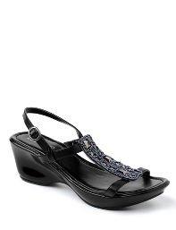 Black,Copper Patent Wedge Sandal