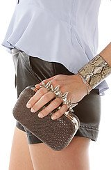 The Five Finger Spiked Clutch in Chocolate