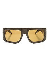 The Logo Patent Leather Sunglasses In Black with Gold Mirror Lens