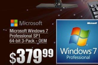 Microsoft Windows 7 Professional SP1 64-bit 3-Pack - OEM