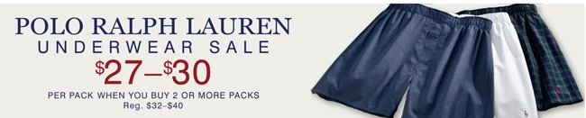 POLO RALPH LAUREN UNDERWEAR SALE | $27-$30 PER PACK EACH WHEN YOU BUY 2 OR MORE PACKS | SHOP SALE NOW