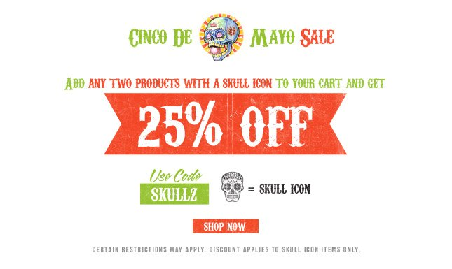 Match Two Skulls, get 25% Off