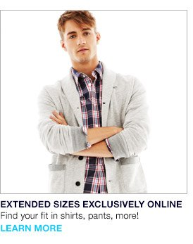 EXTENDED SIZES EXCLUSIVELY ONLINE | Find your fit in shirts, pants, more! | LEARN MORE
