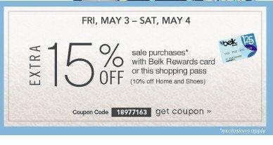 Extra 15% off. FRI & SAT, MAY 3 & 4. Get coupon.