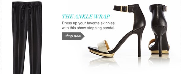 Dress up your favorite skinnies with this show-stopping sandal.