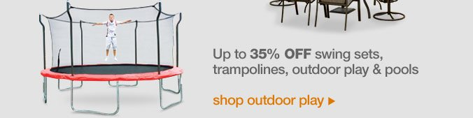 Up to 35% off swing sets, trampolines, outdoor play & pools | shop outdoor play