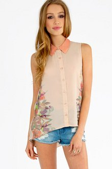 Mirror Floral Collared Top $29