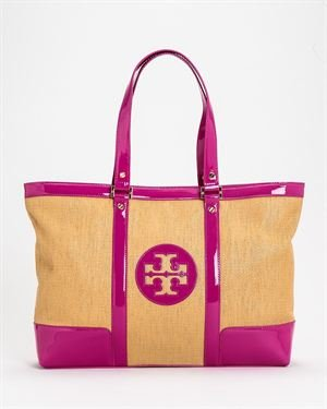 Tory Burch Straw Saddle Jane Tote Bag