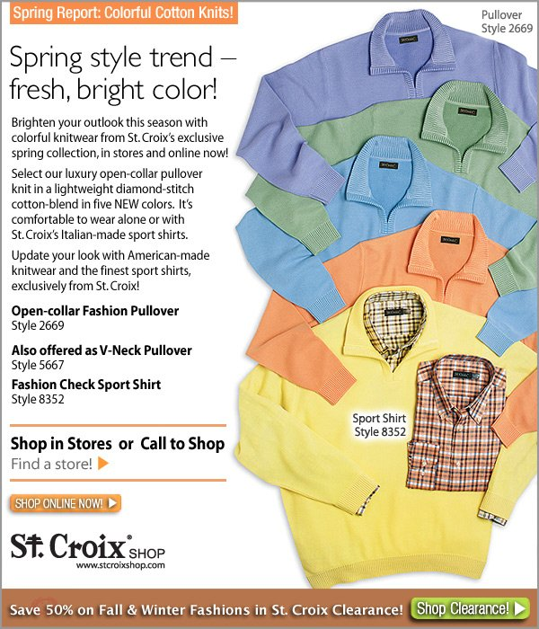 St. Croix's Diamond-Stitch Open Collar Pullover - style 2669