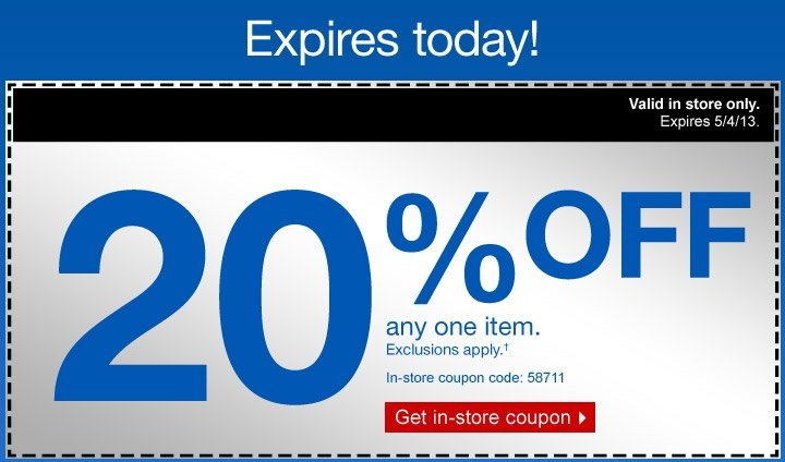 Expires today! 20% coupon.