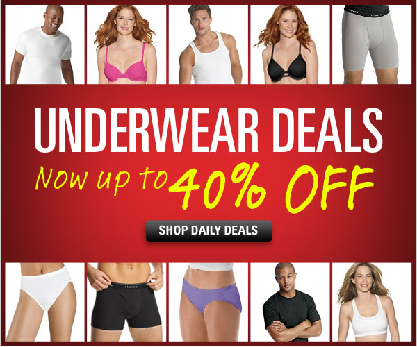 Underwear Daily Deals up to 40% off
