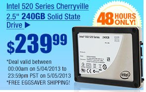 "$239.99 -- Intel 520 Series Cherryville 2.5"" 240GB Solid State Drive"
