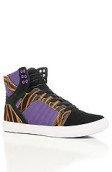 <b>SUPRA</b><br />The Skytop Sneaker in Tiger Print Pony Hair, Black Suede, & Purple Nylon