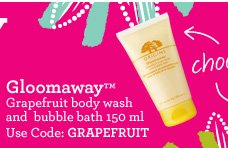Gloomaway Grapefruit body wash and bubble bath 150ml Use code GRAPEFRUIT