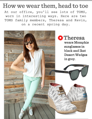 Theresa  wears Memphis sunglasses in black and Ikat Desert Wedges in grey.