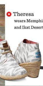 Grey Ikat  Women's Desert Wedges