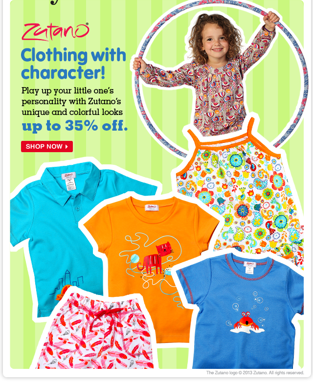 Za-Za-Zutano! Add some zoom to your little one's wardrobe with looks from the Vermont-based brand—up to 35% off!