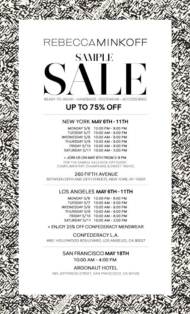 Rebecca Minkoff Sample Sale - Up to 75% Off