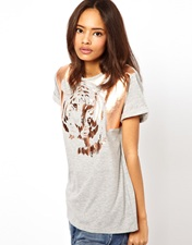 ASOS T-Shirt with Tiger Print in Foil