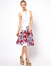ASOS Midi Skirt in Oriental Print