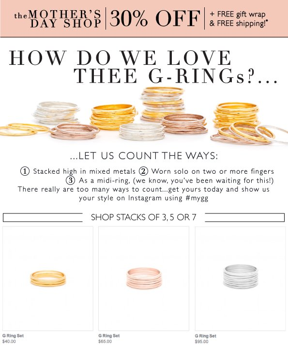 How do We Love Thee G-Rings?