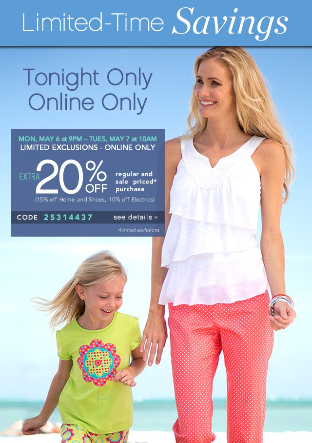 Tonight Only. Online Only. Extra 20% off. See details.