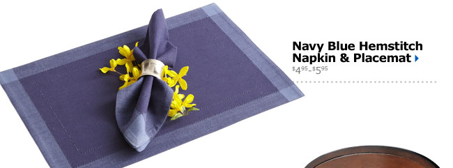 Navy Blue Hemstitch Napkin & Placemat