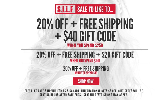 $40 Gift Code, 20% Off and Free Ship on orders over $250!