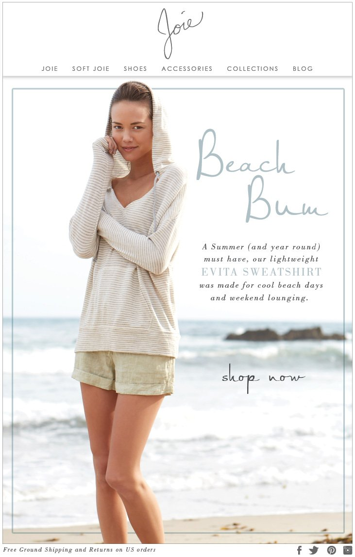 Beach Bum A Summer (and year round) must have, our lightweight EVITA SWEATSHIRT was made for cool beach days and weekend lounging. shop now