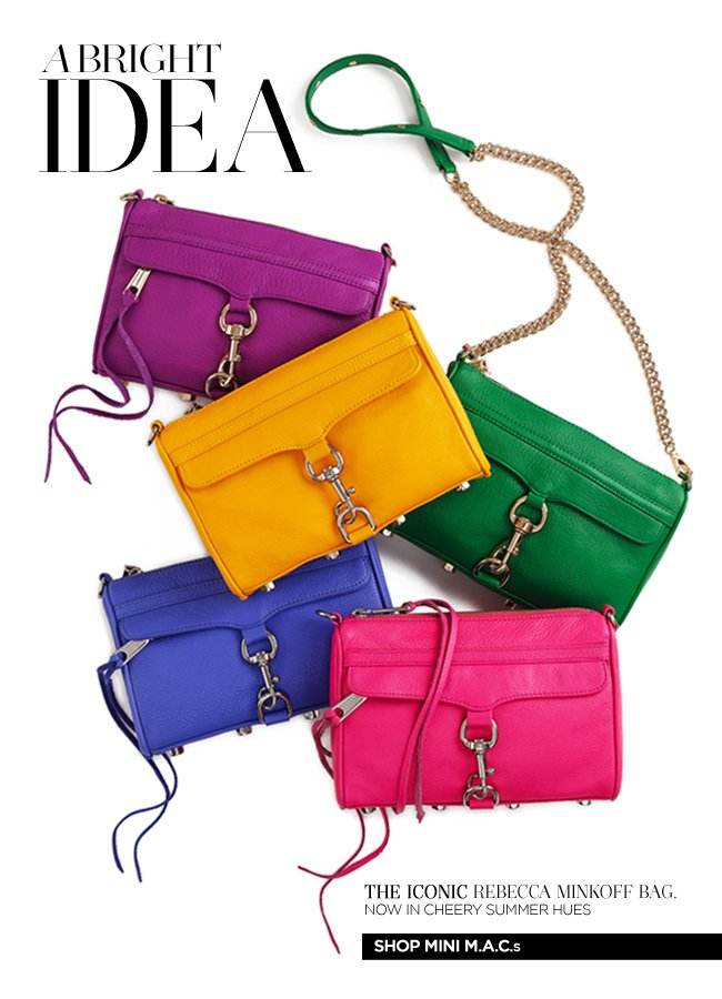 A Bright Idea: The iconic Rebecca Minkoff bag, now in cheery summer hues.