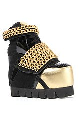 The Enough Shoe in Black and Gold Chain