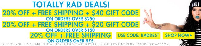 $40 Gift Code plus 20% Off and Free Ship on orders over $250!