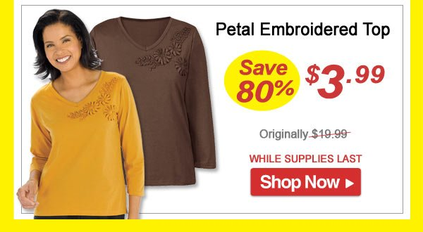 Petal Embroidered Top - Save 80% - Now Only $3.99 Limited Time Offer