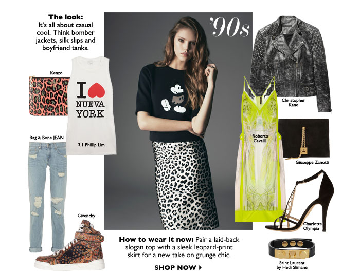 How to wear it now: Pair a laid-back slogan top with a sleek leopard-print  skirt for a new take on grunge chic. SHOP NOW