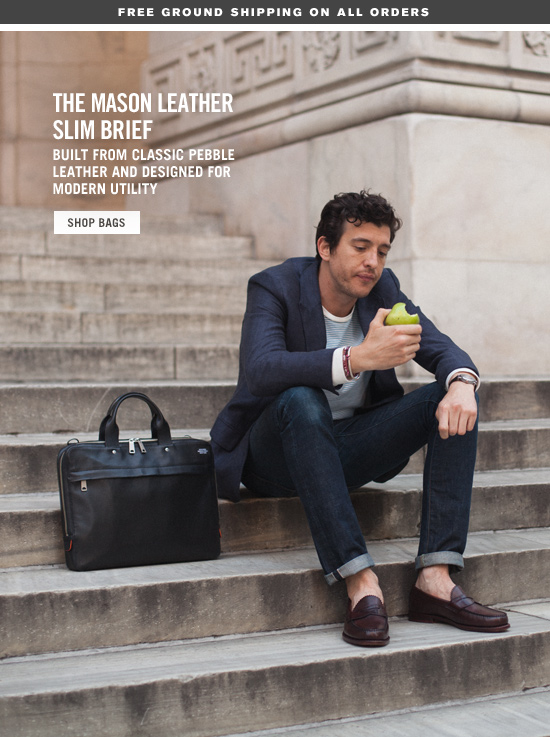 The Mason Leather Slim Brief. Shop Bags.