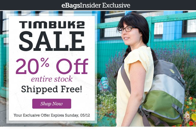 Timbuk2 Sale| 20% Off entire stock | Shipped Free! | Shop Now