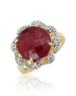 Ladies Ruby Ring Designed In Yellow Gold Plated Silver