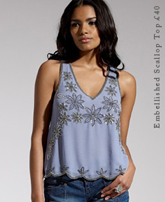 Embellished Scallop Top