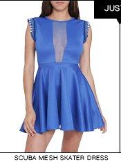Shop The Scuba Mesh Skater Dress