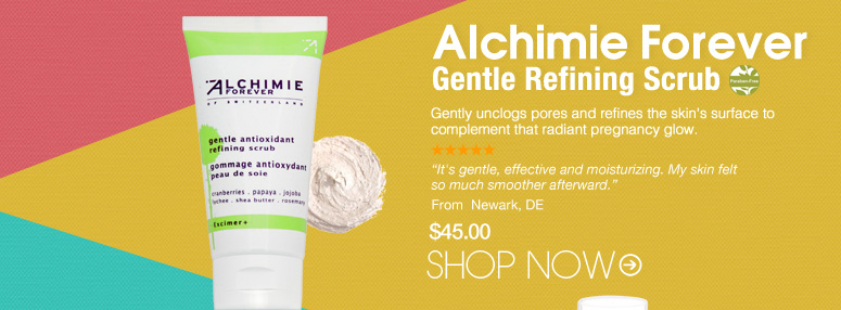 "Alchimie Forever - Gentle Refining Scrub  Paraben-free Refines the skin's surface and deep cleans pores for a radiant and youthful complexion without causing irritation. ""It's gentle, effective and moisturizing. My skin felt so much smoother afterward."" – Newark, DE $45.00 Shop Now>>"