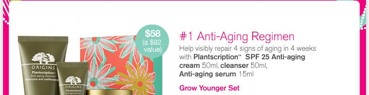 Award winning anti agers Help her visibly reduce the appearance of fine lines and wrinkles with Plantscription anti aging seru, 30 ml Starting Over Age erasing moisturizer 30 ml and eye cream 5ml Great Starts Set SHOP NOW