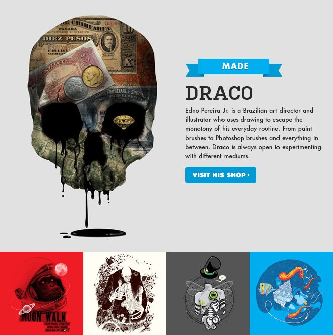 Draco - Edno Pereira Jr. is a Brazilian art director and illustrator who uses drawing to escape the monotony of his everyday routine. From paint brushes to Photoshop brushes and everything in between, Draco is always open to experimenting with different mediums.
