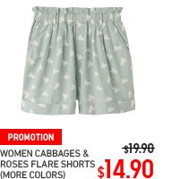 WOMEN CABBAGES AND ROSES FLARE SHORTS